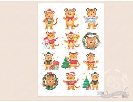 """Набор картинок на водорастворимой бумаге """"Новогодние тигры"""" (6х6,5х8,7х5,6х5,6,5х7)"""