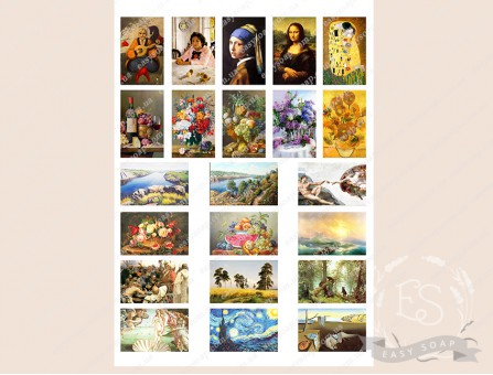 """Набор картинок на водорастворимой бумаге """"Картины"""" 5,5*3,5"""