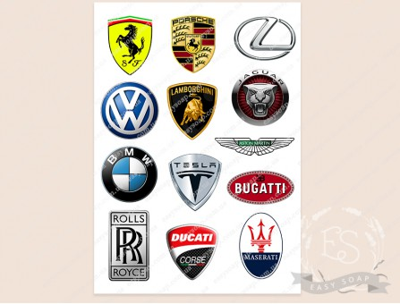 """Набор картинок на водорастворимой бумаге """"Логотипы автомобилей"""""""
