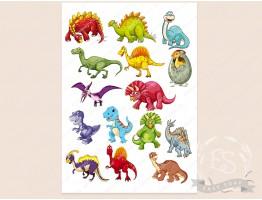 """Набор картинок на водорастворимой бумаге """"Мультяшные динозавры"""""""