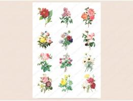 """Набор картинок на водорастворимой бумаге """"Цветы винтаж"""" 5х6 см"""
