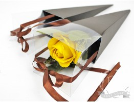 Коробка-конус для цветка коричневая