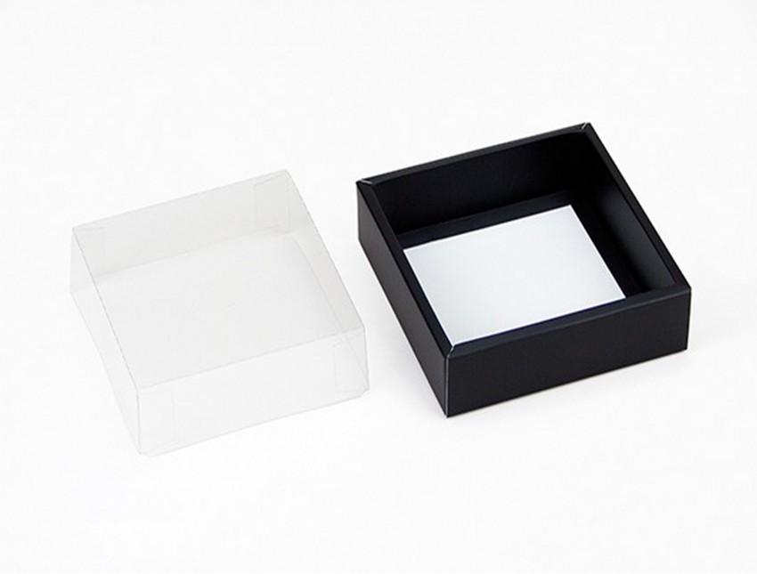 Коробка с прозрачным верхом 110*110*30 черная