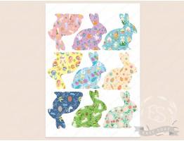 """Набор картинок на водорастворимой бумаге """"Пасхальный кролик"""" паттерн 8,5х8,5"""