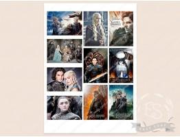 """Набор картинок на водорастворимой бумаге """"Игра престолов"""" 8,0х5,5"""