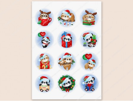 """Набор картинок на водорастворимой бумаге """"Новогодний-ленивцы и панды"""", круг 6.0х6.0"""