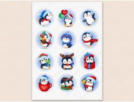 """Набор картинок на водорастворимой бумаге """"Новогодний-пингвины"""", круг 6,0х6,0"""