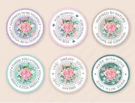 """Набор наклеек """"Роза"""" с надписями (на английском языке) 24 шт."""
