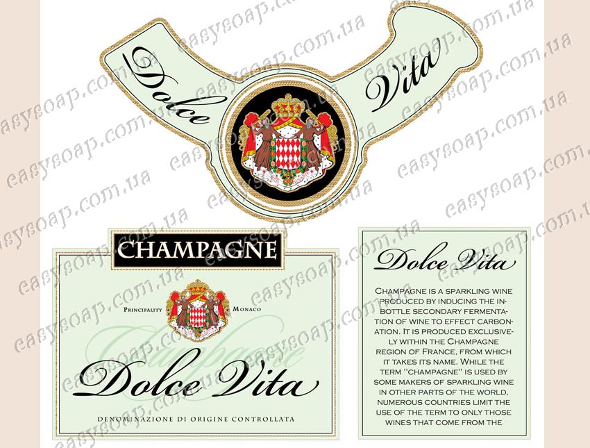"""Набор этикеток на самоклейке для 3Д мыла шампанское """"Dolce Vita"""""""