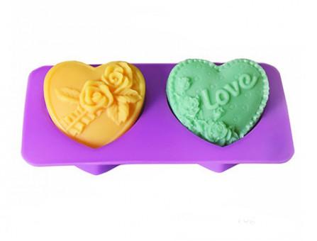 """Силиконовая форма """"Сердца:розы, любовь """" по диагонали  (набор из 2х)"""