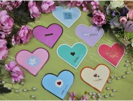 Открытка-мини сердце цветная ассорти №10