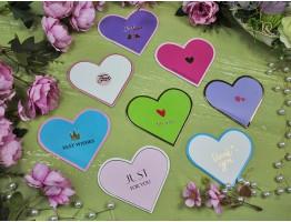 Открытка-мини сердце цветная ассорти №11