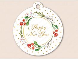 """Бирка """"Happy New Year"""" классика, белый"""
