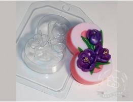 """Форма пластиковая для мыла """"8 Марта"""" крокусы"""