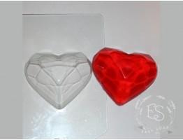 """Форма пластиковая для мыла """"Граненое сердце"""""""
