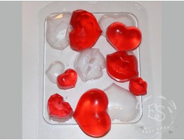 "Форма пластиковая для мыла ""Сердечки-поцелуйчики"""