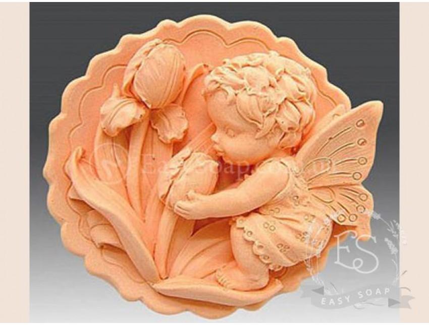 """Силиконовая форма для мыла """"Ангелочек с тюльпаном"""" 2D"""