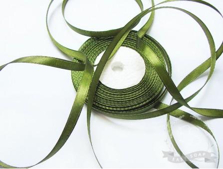Лента атласная глубокий оливково-зеленый 6мм