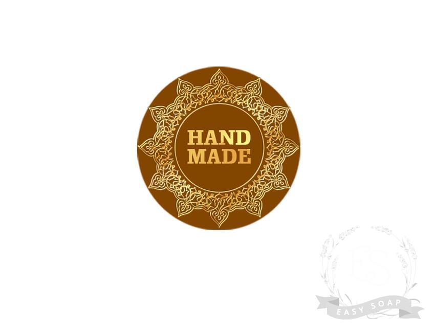 """Стикер """"Hand made"""" золотая печать"""