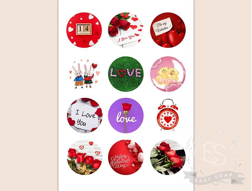 "Набор картинок на водорастворимой бумаге ""Св. Валентин"" №5 5,5х5,5 (круг)"