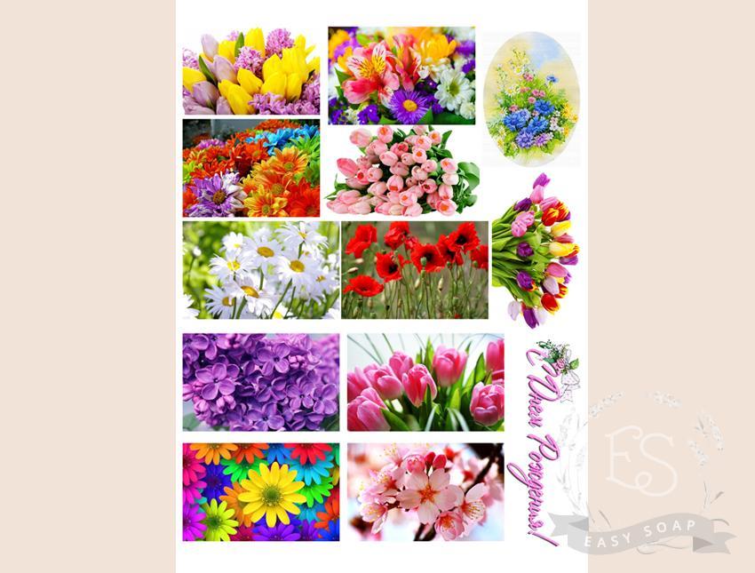 """Набор картинок на водорастворимой бумаге """"Цветы"""" (прямоугольник)"""