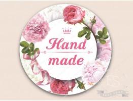 Этикетка №11_HAND MADE - РОЗЫ (белой пленке) d=6 см