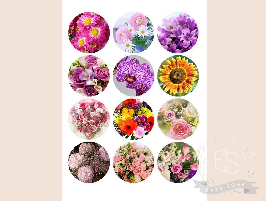 """Набор картинок на водорастворимой бумаге """"Цветы"""" 6х6"""
