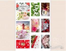 """Набор картинок на водорастворимой бумаге """"Св. Валентин"""" №3  8х5 (прямоугольник)"""