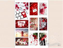 """Набор картинок на водорастворимой бумаге """"Св. Валентин"""" №2  8х5 (прямоугольник)"""