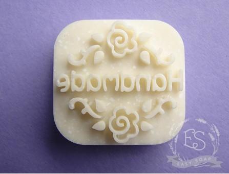 "Штамп для мыла с нуля ""Hand made"" розы"