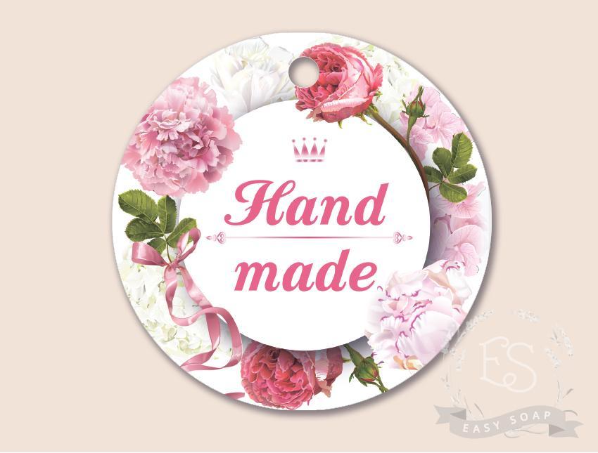 """Бирка """"Hand Made - Розы"""" круглая"""