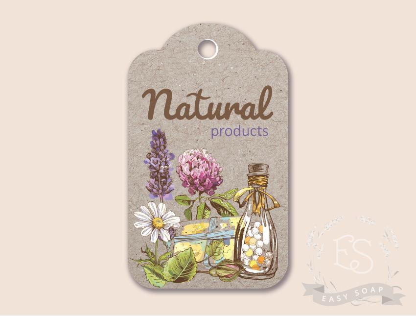 "Бирка ""Natural products"" прямоугольная"