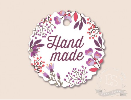 "Бирка ""Hand Made - мелкий цветочек"" круглая, рифленый край"