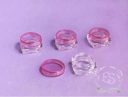 Баночка 3 мл квадрат прозрачно-розовая