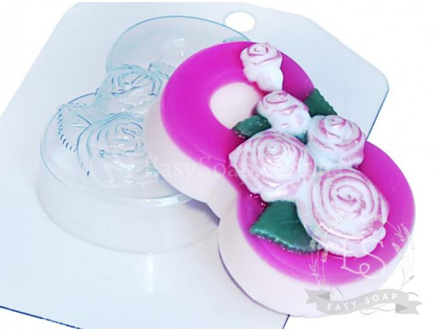 """Форма пластиковая для мыла """"8 Марта"""" розы по диагонали"""
