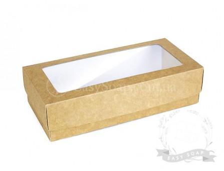 """Коробка c окошком """"Пенал"""" крафт (№1)  200*95*50"""