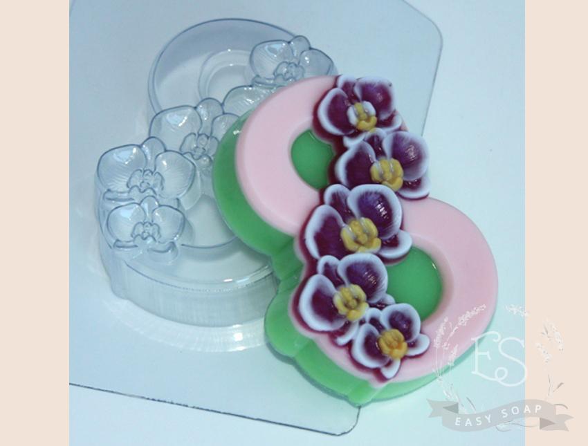 """Форма пластиковая для мыла """"8 Марта"""" орхидеи по диагонали"""