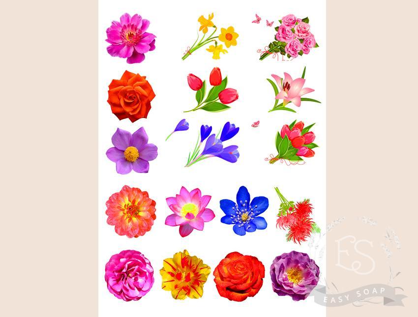 """Набор картинок на водорастворимой бумаге """"Цветы"""" (белый фон)"""