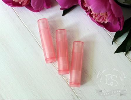 Туба для помады прозрачная светло-розовая