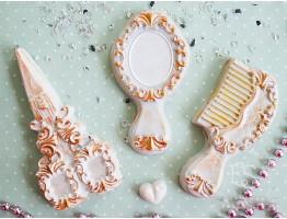 """Форма пластиковая для мыла """"Дамский набор (ножницы. расческа, зеркало)"""""""