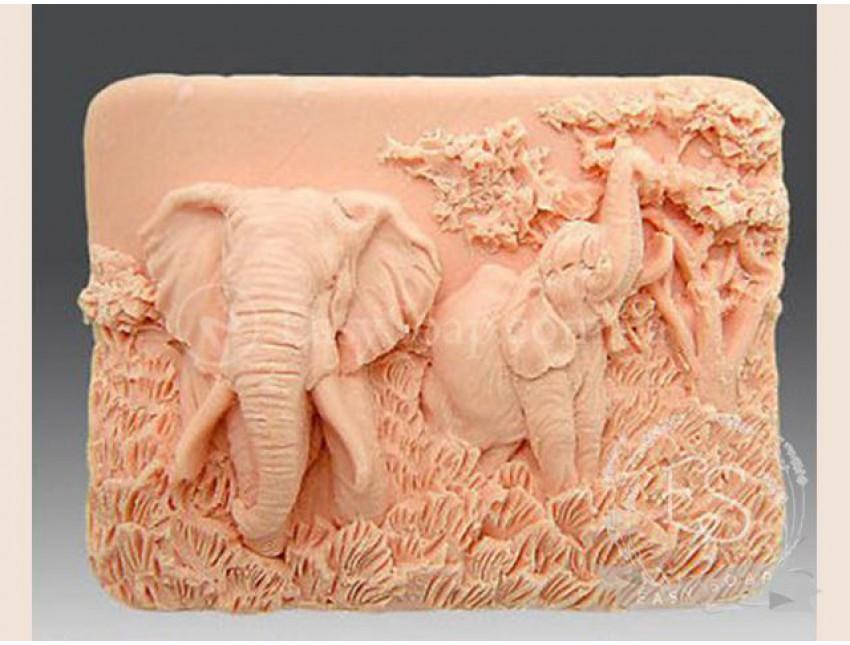 """Силиконовая форма для мыла """"Слоны"""" 2D"""