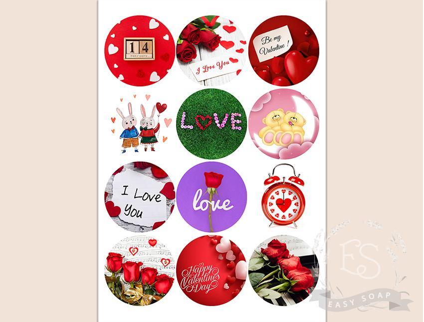 "Набор картинок на водорастворимой бумаге ""Св. Валентин"" №4 6,5х6,5 (круг)"